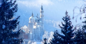 Neuschwanstein Castle in winter Oberammergau Germany to-europe.com