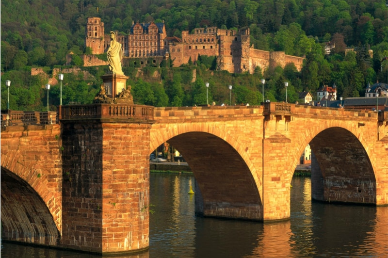 Bavaria Innsbruck Lake Constance Rail Tour, Old Bridge Heidelberg and Heidelberg Castle in the background Germany to europe to-europe.com