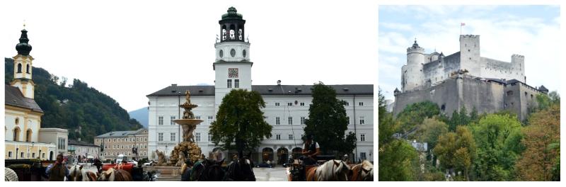 Residenzplatz and Hohensalz Fortress in Salzburg
