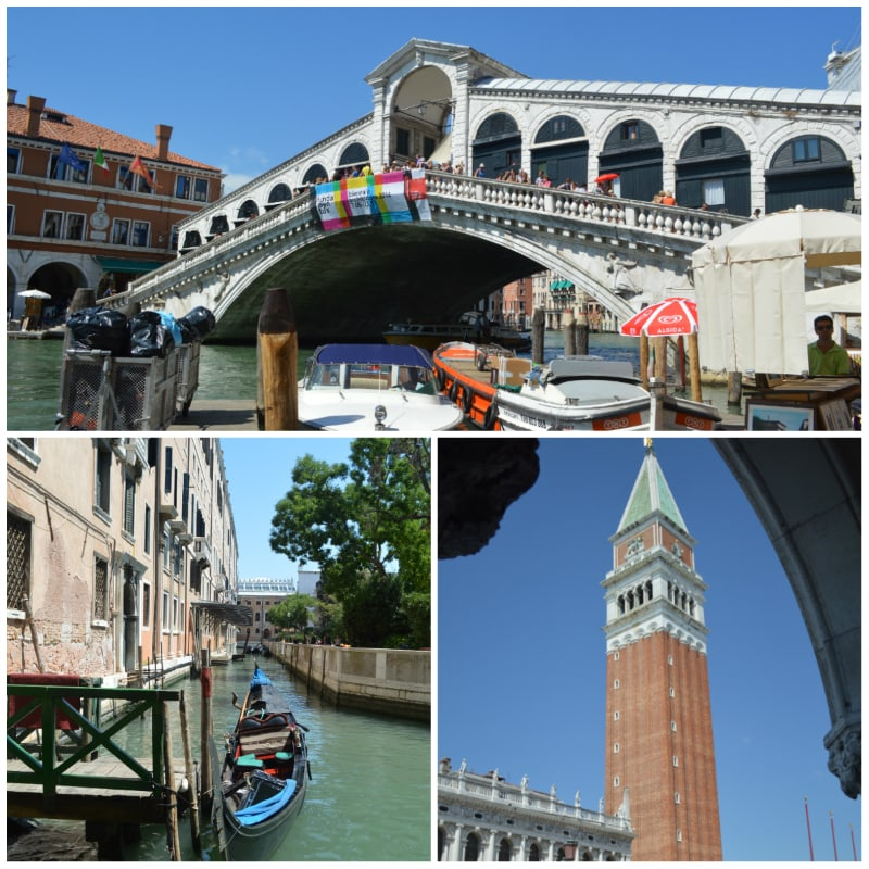Rialto Brigde, Chanel and St. Mark's Campanile Venice Italy To-europe