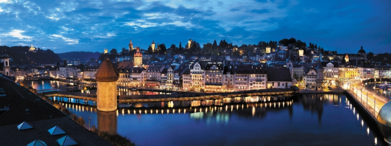 Paris to Munich Swiss Alps Rail Tour, Lucerne by night Swiss, Switzerland ©Luzern Tourismus AG to-europe.com