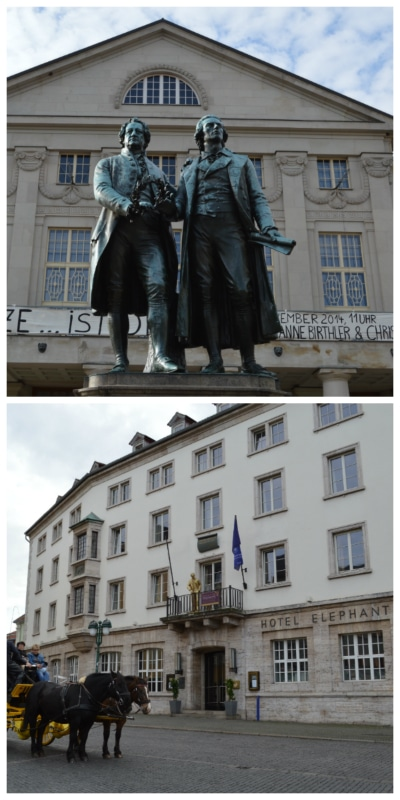 Goethe and Schiller Monument and Hotel Elephant in Weimar Germany to-europe.com