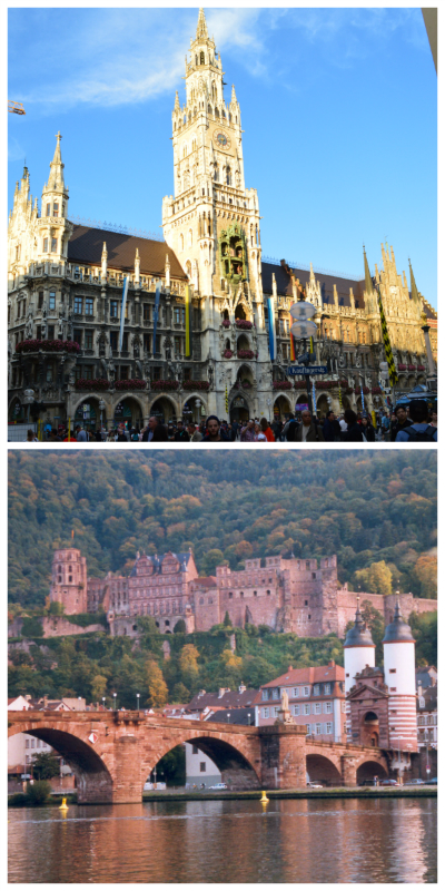 New Town Hall Munich ©Thomas H. Giesick and Heidelberg Castle with Old Bridge ©Wowox via Wikimedia Commons