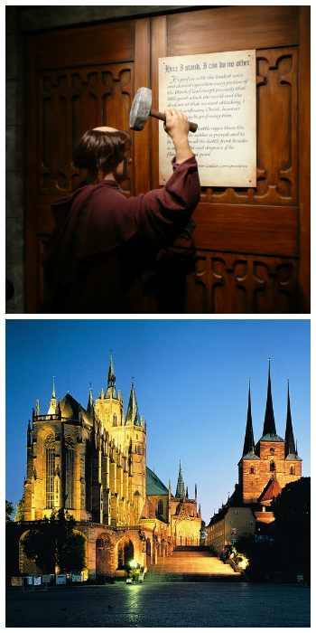 Luther damaging the Wittenberg church door and Dom St. Marien und Severikirche bei Nacht Erfurt Germany to-europe.com