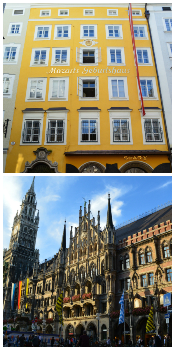 Mozart Birth Place Salzburg Austria and Munich New Town Hall Germany to-europe.com