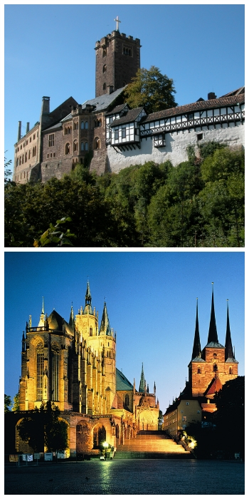 Wartburg Castle Eisenach and Erfurt Cathedral Germany to-europe.com